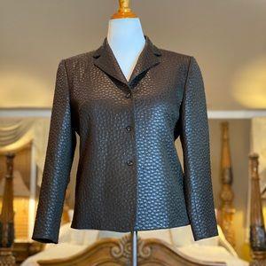 Bernard Zins Paris Brown Texturized Blazer Size 10